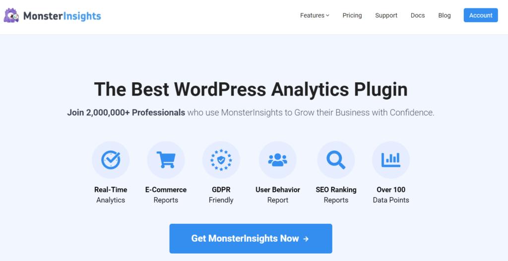 monsterinsights meilleur plugin d'analyse pour wordpress