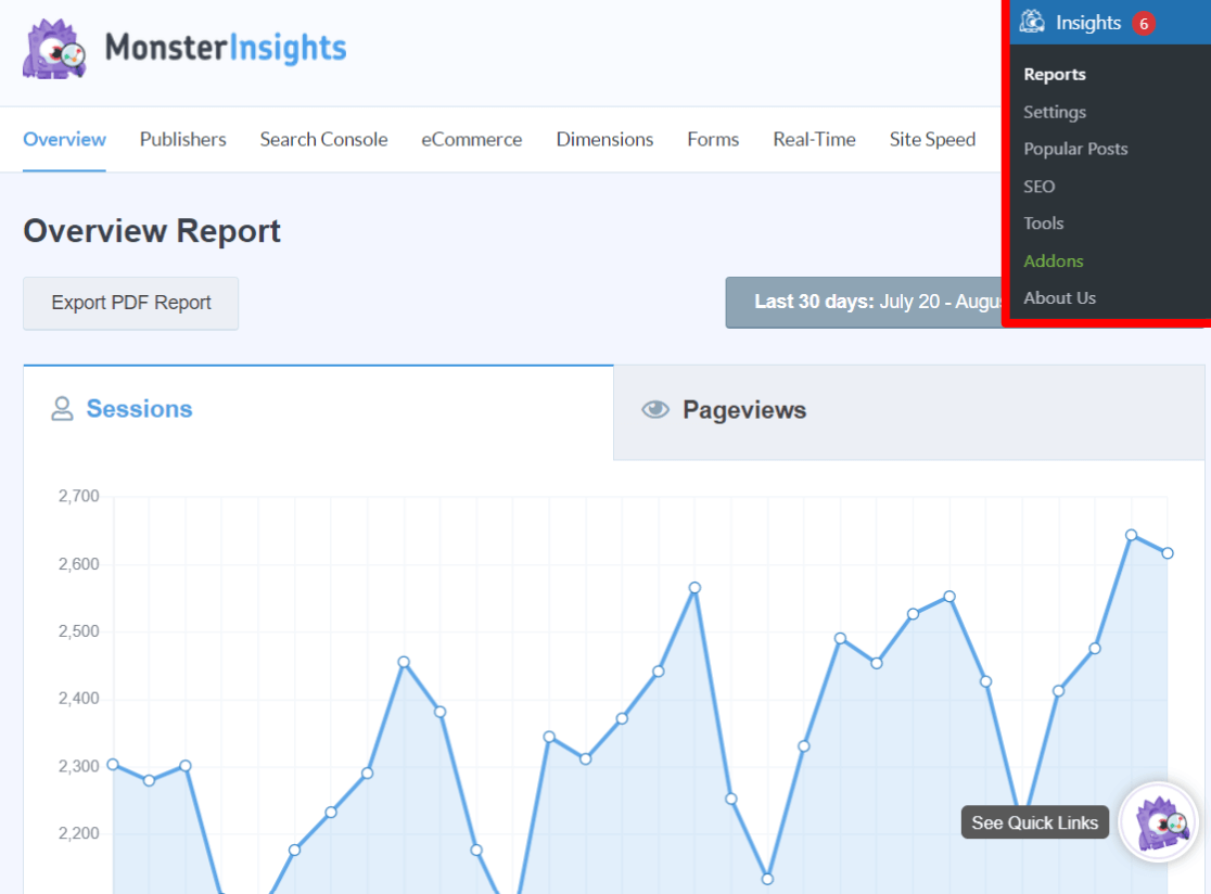 MonsterInsights Dashboard Example