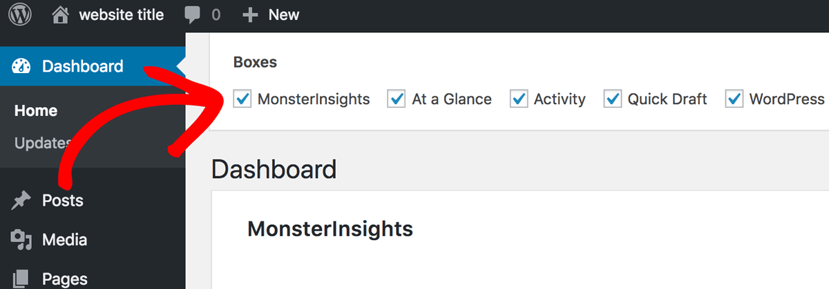 Deselect MonsterInsights Dashboard Widget