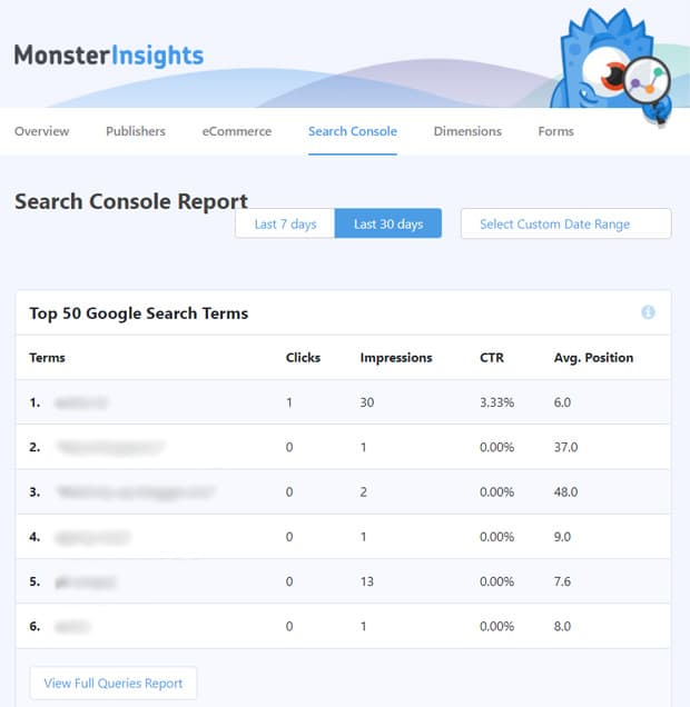 monsterinsights-search-console-report