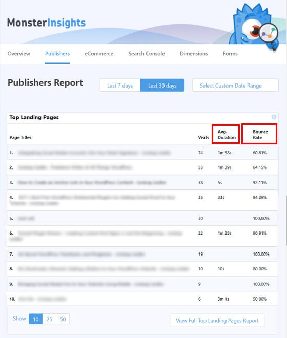 top-landing-pages-monsterinsights-report