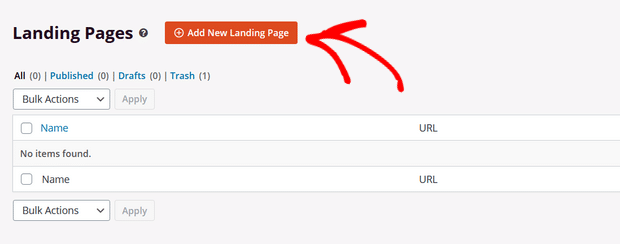 click on add new landing page button