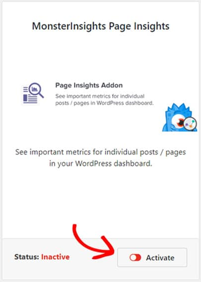 activate-monsterinsights-page-insights-addon