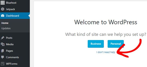 wordpress-welcome-message