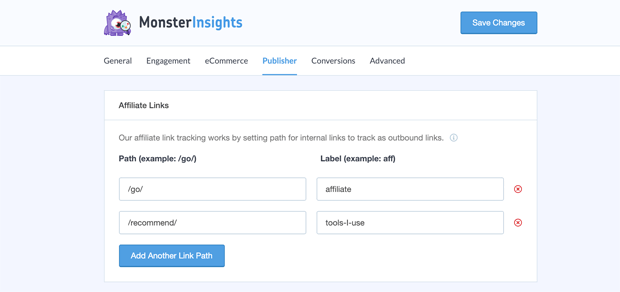 Affiliate Link Tracking with MonsterInsights