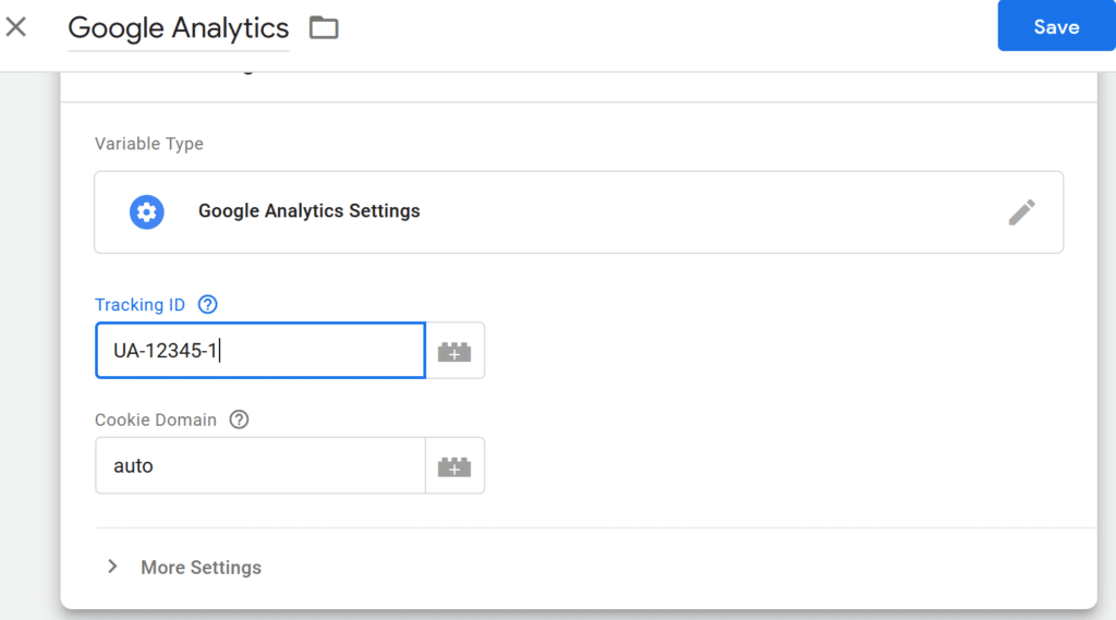enter google analytics tracking id