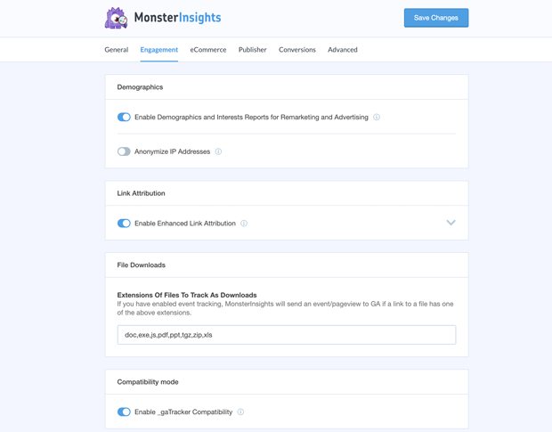 MonsterInsights New Settings Panel