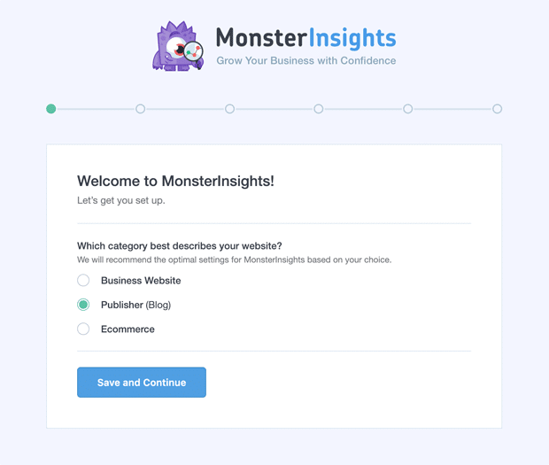 MonsterInsights New Setup Wizard