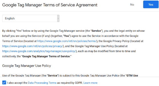 terms of service google tag manager
