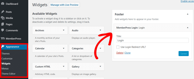 Add MemberPress Login widget to Your website
