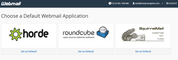 Choose Default Webmail Application for your Bluehost email