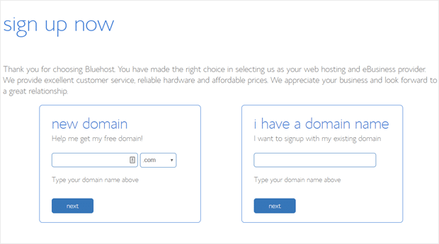 Choose Domain Name and Sign Up with Bluehost
