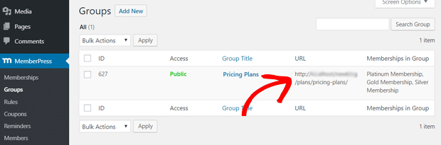 Copy the group URL to redirect non-members to Pricing Page