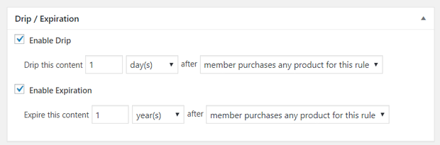 Drip and Expiration Options in MemberPress