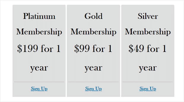 MemberPress Pricing Page Demo in Twenty Nineteen theme