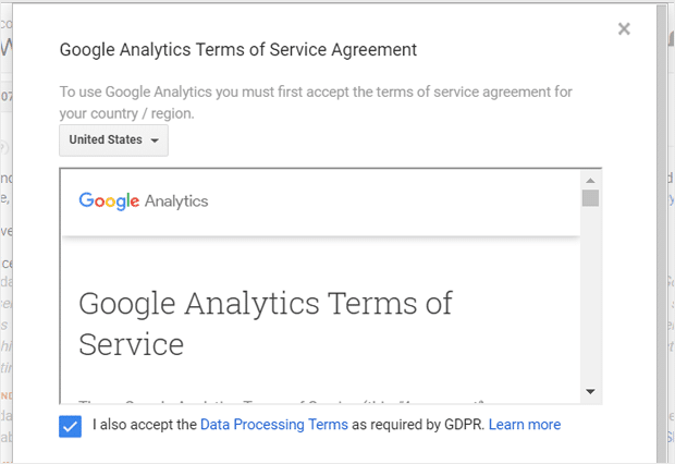 Accept Google Analytics Terms of Service and GDPR