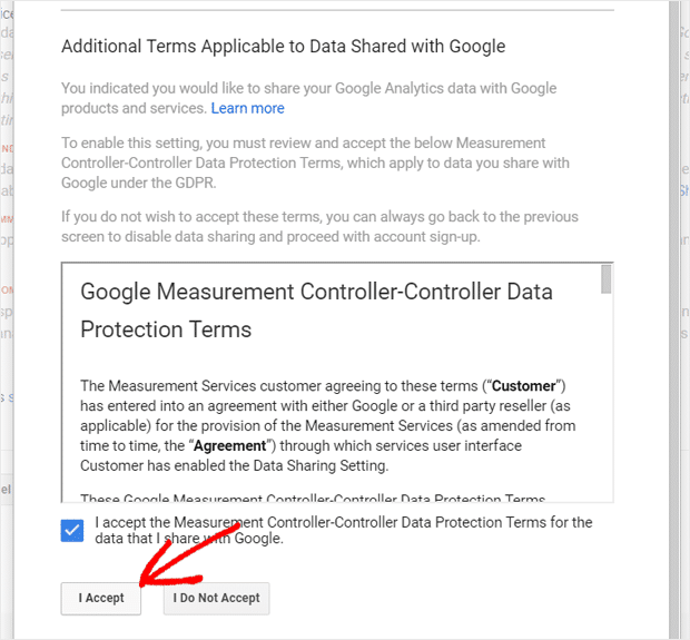 Accept Measurement Controller-Controller Data Protection Terms for Data Sharing in Analytics