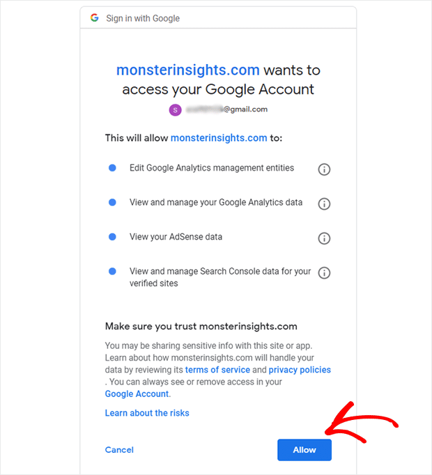 Allow MonsterInsights to Access Your Google Analytics Data