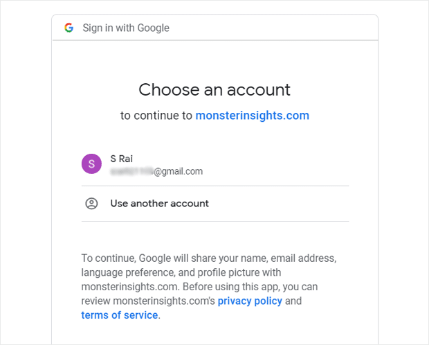 Choose Your Google Account to Connect with MonsterInsights