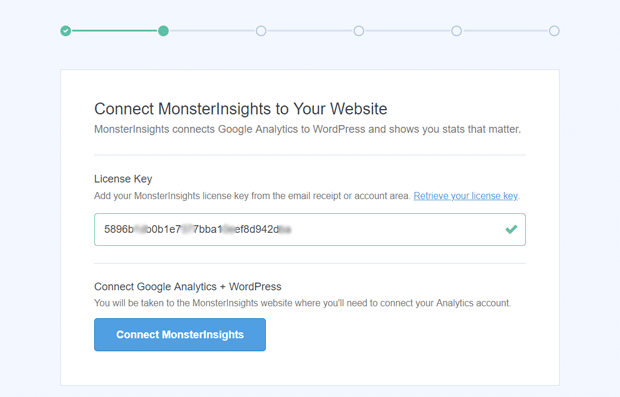 Enter Your MonsterInsights License Key to Connect with WordPress