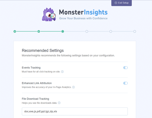 MonsterInsights GA Plugin Recommended Settings