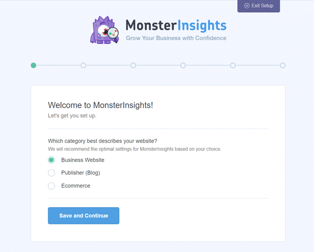 MonsterInsights Setup Wizard - Choose Your Website Category