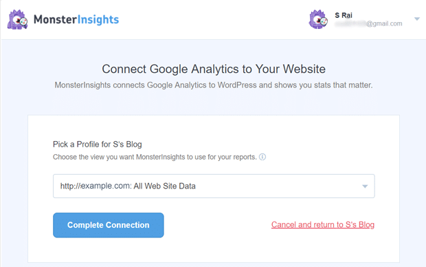 Pick Your Google Analytics Property from Analytics Account to Connect with MonsterInsights