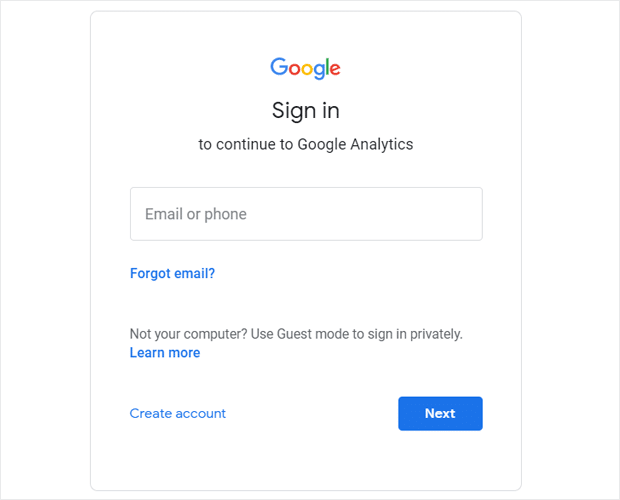 Sign In to Your Google Account for Analytics Account