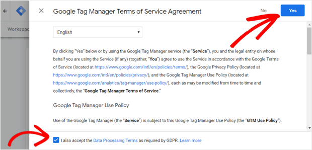 Accepter les conditions d'utilisation de Google Tag Manager et les conditions GDPR