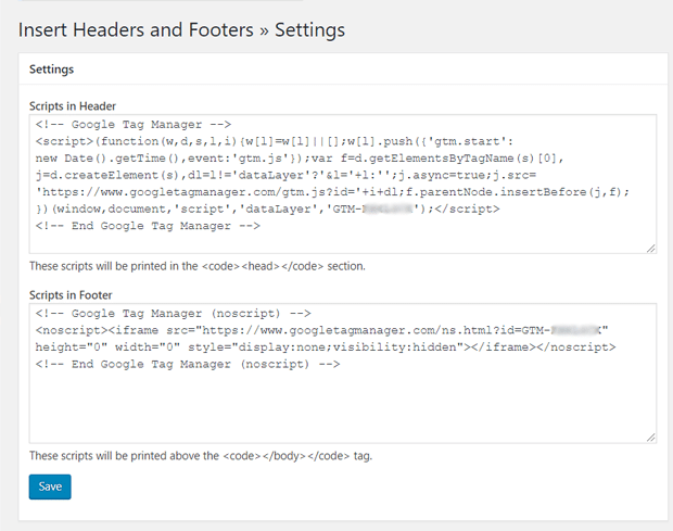 Ajoutez des codes Google Tag Manager à WordPress avec le plugin Insert Headers and Footers