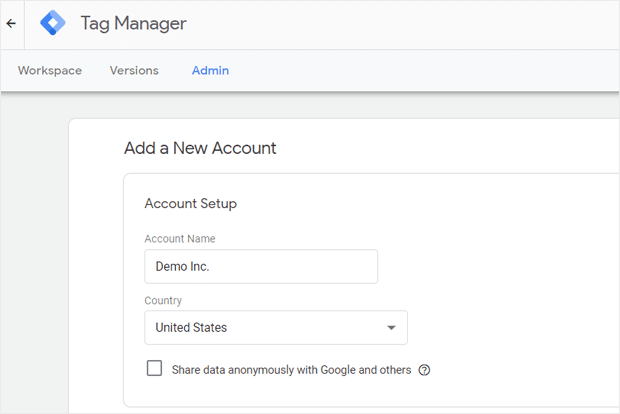 Add New Google Tag Manager Account - Account Setup