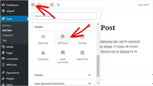 Add WPForms Widget in WordPress Content Edit Screen