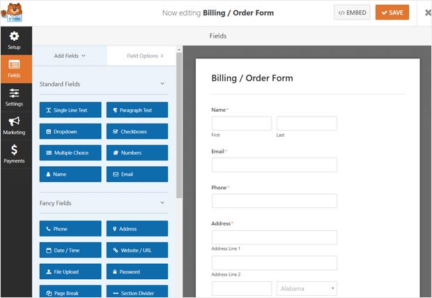 WPForms Order Form Setup Screen