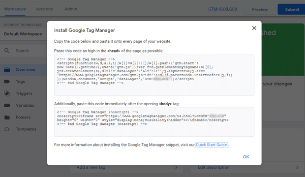 Codes d'installation de Google Tag Manager