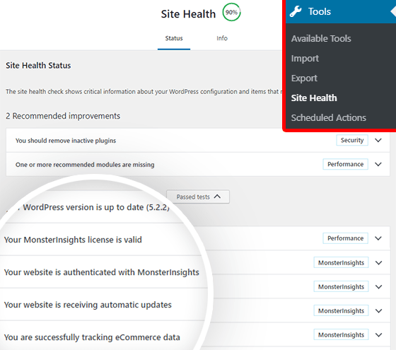 MonsterInsights WordPress site health check