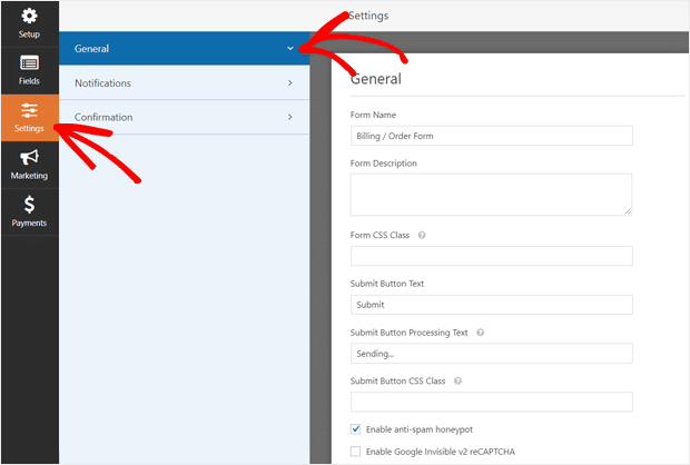 WordPress Order Form General Settings
