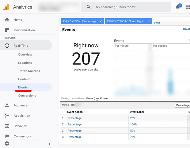 Real-Time Scroll Tracking Events Data in Google Analytics