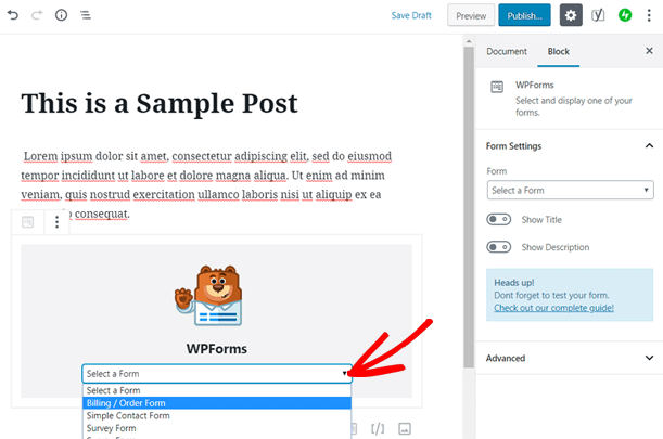 Select Order Form to Add in Your WordPress Blog Post