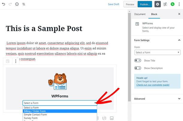 Sélectionnez le bon de commande à ajouter à votre article de blog WordPress