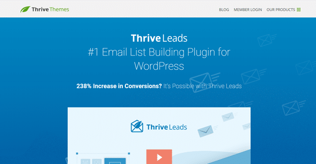 Développement de la liste de leads Thrive et plug-in WordPress Popup