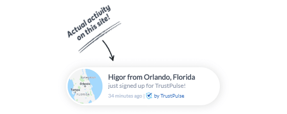 A social proof notification by TrustPulse