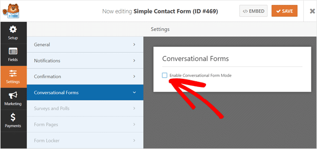 Enable Conversational Forms in WPForms