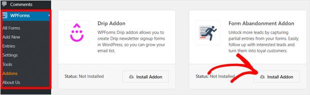 Install Form Abandonment Addon WPForms Plugin