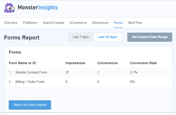 MonsterInsights Forms Tracking Reports