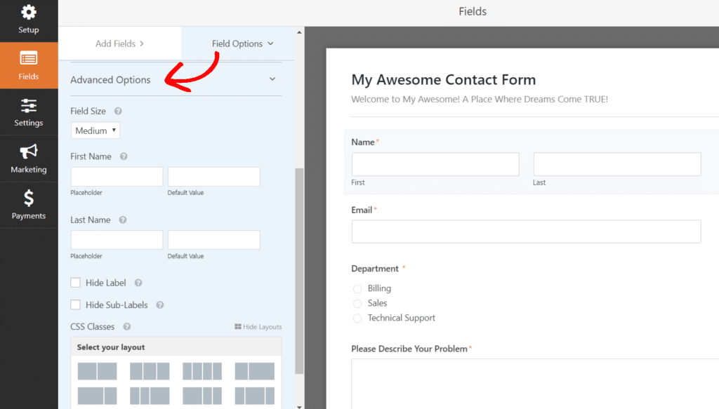 Change contact form field options