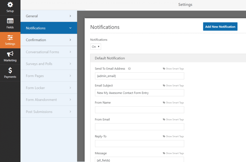 Change form notification settings