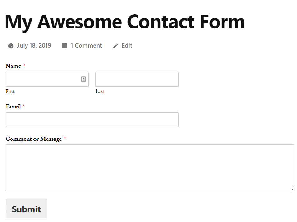 Final outlook of AMP friendly contact form