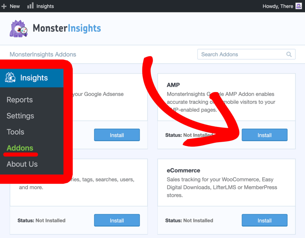 Install MonsterInsights AMP Addon