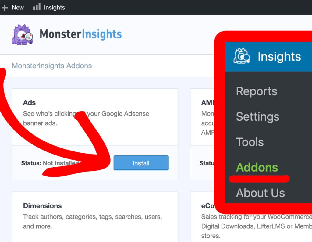 Module complémentaire d'annonces monsterinsights