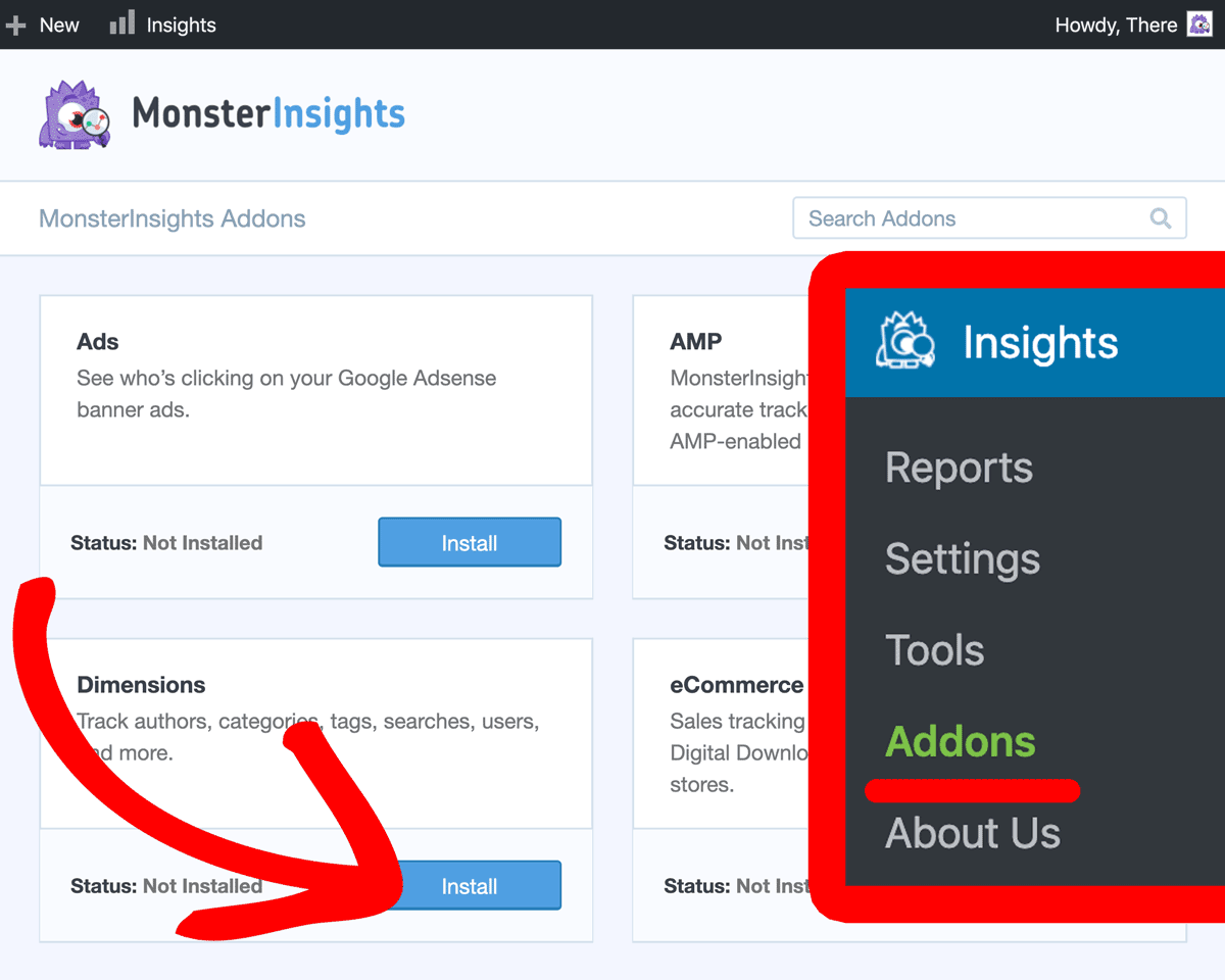 Install MonsterInsights Dimensions Addon